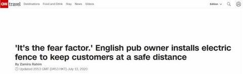 """getInterUrl?uicrIvZQ=75c7a11184bf841a7bc7595debf8fd37 - """"Electricity is dangerous!"""" In order to maintain social distance, an electric fence in a British bar prevents customers from approaching the bar"""