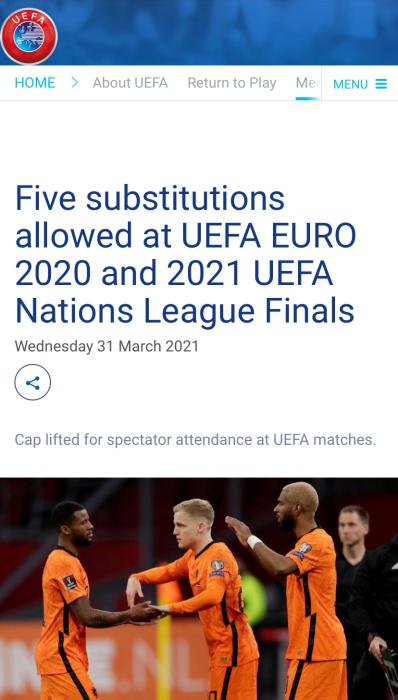 UEFA: Each team can replace 5 substitutes in a single game of the European Cup