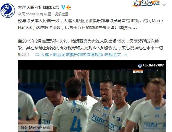 Hamsik terminates contract with Dalian Chinese Super League and has joined Gothenburg Club