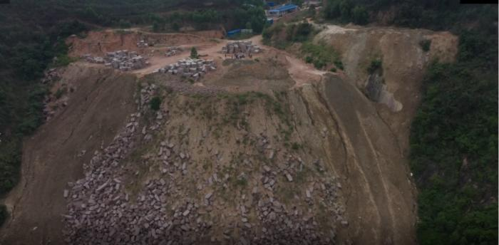 Extensive mining in Guangxi Cenxi Granite Mine, random dumping of spoils and rocks is common(1)