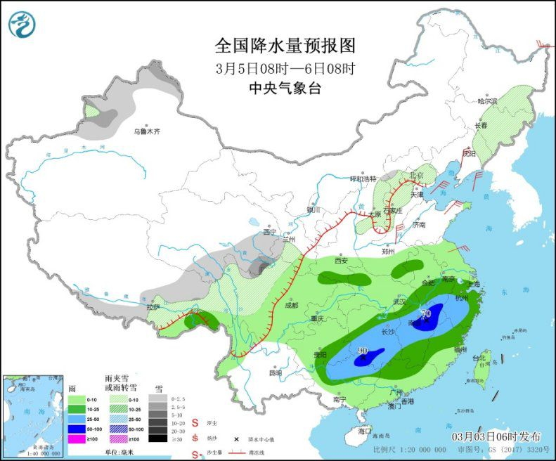 There will be a precipitation process in the south, and there will be heavy rains in Jiangnan, southern China and other places.(2)