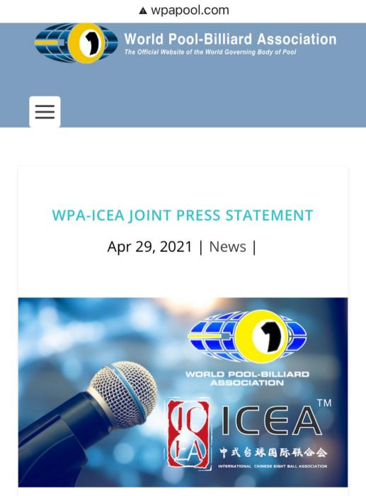 Signed with the World Pool Association ICEA as the only official organization to promote Chinese billiards
