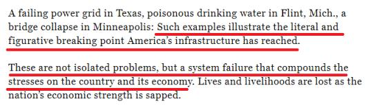 """The U.S. infrastructure level was rated as """"failed"""". This is the highest score in 20 years(14)"""