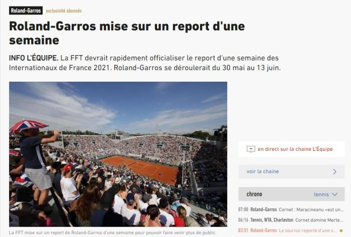 Affected by the new crown pneumonia epidemic, the French Open may be postponed for a week